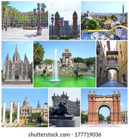 Collage of landmarks of Barcelona, Spain: Triumph Arch, National Museum, Placa Espanya, Park Guell, Plaza Real, Parc Ciutadella, Barri Gotic - Bridge Carrer del Bisbe, Cathedral Holy Cross St. Eulalia