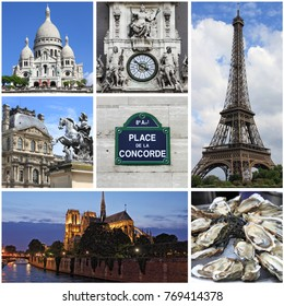 Collage of landmarks of Paris, France