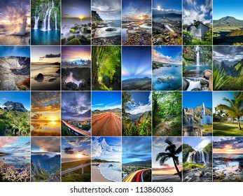 A collage of landscapes from Reunion Island.