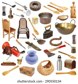 collage with large number of vintage objects isolated on white background, ready for your design