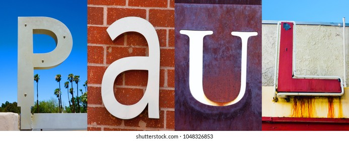 Collage of letters from outdoor signage spelling the name Paul