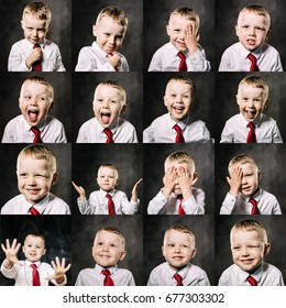 Collage of a little boy expressing different emotions on dark background