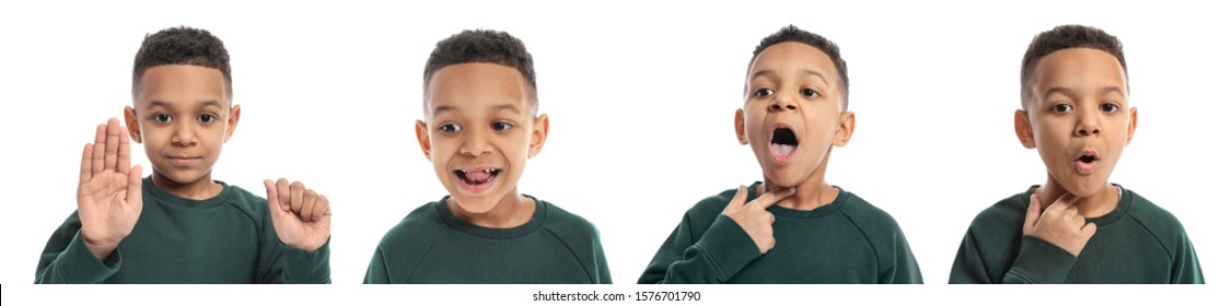 Collage with little boy on white background. Concept of speech therapy