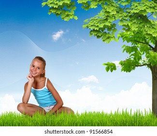 Collage with little smiling girl on green grass
