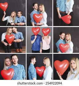 Collage with love concept. Romantic couple posing with red heart balloon in room. Young adults.