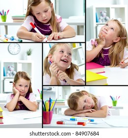 Collage of lovely girl drawing with colorful pencils