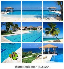 Collage with luxury swimming pool and summerhouse