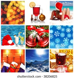 Collage made with christmas shots and illustrations