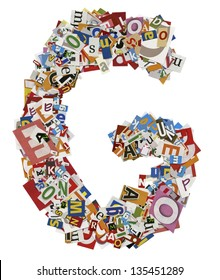 Collage made of newspaper clipping,  letters, ABC,