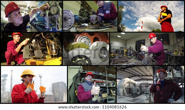 Collage made of photos with industrial workers in various situations