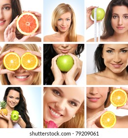 Collage made of some photos about health, beauty, spa and dieting