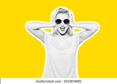 Collage in magazine style with colorful emotional fashion short hair blonde woman. Crazy girl in t-shirt and rock sunglasses scream holding her head. Rocky woman white toned yellow background