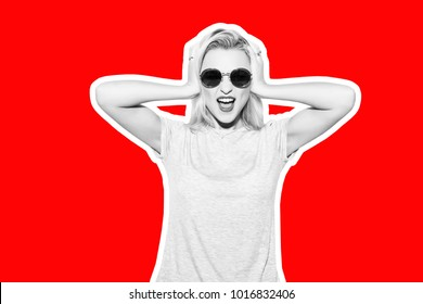 Collage in magazine style with colorful emotional fashion short hair blonde woman. Crazy girl in t-shirt and rock sunglasses scream holding her head. Rocky woman white toned red background
