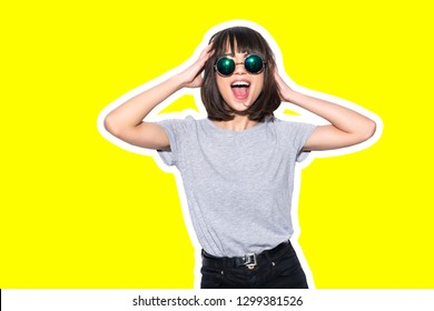 Collage in magazine style with colorful emotional girl in t-shirt and sunglasses scream holding her head toned yellow background
