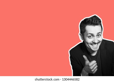 Collage in magazine style with colorful emotional fashion crazy hipster guy. Salesman with moustache amazed and show thumbs up. Trendy coral color background for sale banner. Discount sales concept.