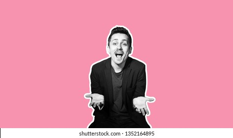 Collage in magazine style with colorful emotional fashion crazy hipster guy. Funny salesman with moustache amazed. White toned pink coral background for sale banner. Discount funky sales concept.