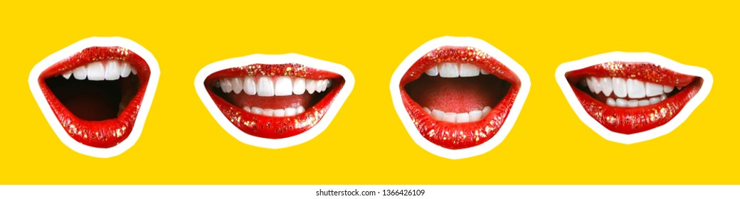 Collage in magazine style with emotional woman's lip gestures set. Girl mouth close up with lipstick makeup expressing different emotions. Black and white toned sunny summer colorful yellow background
