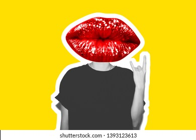 Collage in magazine style with rock sign stylish fashion bad girl in a black t-shirt and lips instead of head. Dangerous rocky sexy emotional woman. Black and white toned. Colorful yellow, background.