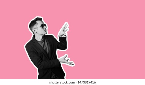 Collage in magazine style, trendy stylish confident positive crazy man in sunglasses pointing ad. Salesman promotion offer ad Trendy pink color background copy space sale banner Discount sales concept