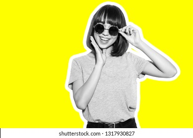 Collage in magazine young woman in sunglasses with hand on chin isolated on yellow background