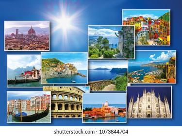 Collage of major Italian travel destinations from photos of Italy. The landscapes of Garda Lake, Venice, Capri island, of Manarola at Cinque Terre, Venice, Rome, Florence, Burano, Sorrento