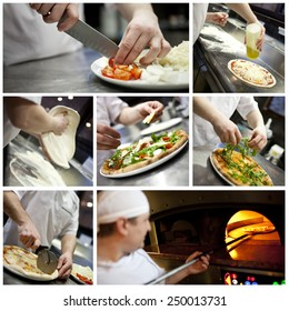 Collage of a male baker preparing pizza.