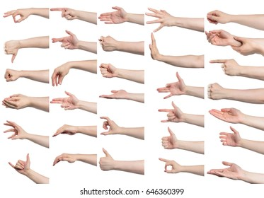 Collage of male hand gestures, isolated with clipping path on white background
