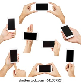Collage of male hands holding smartphone on white background