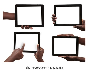 Collage of male hands holding tablets on white background. Blank tablet screen.