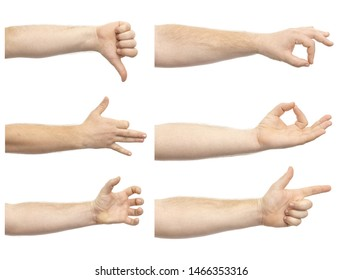 Collage of male hands showing various gestures isolated on white background. A set of various hand gestures