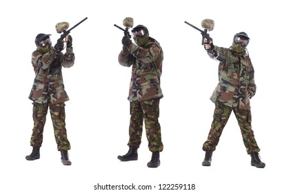 Collage of male paintball player isolated in white background