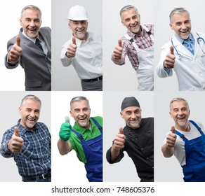 Collage of male smiling professional workers portraits, human resources and work concept