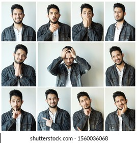 Collage of man with different facial expressions and gestures isolated on gray background. Set of multiple images
