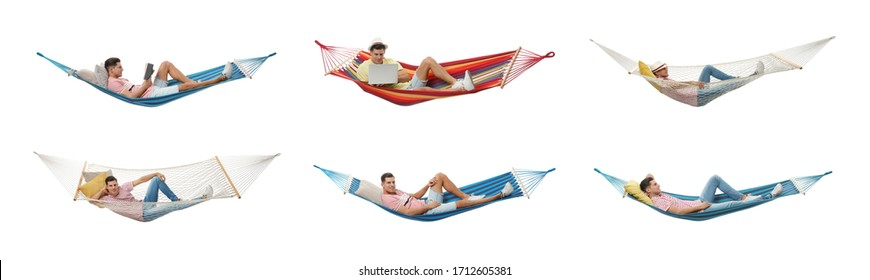 Collage with man resting in different hammocks on white background. Banner design