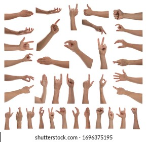 Collage with man showing different gestures on white background, closeup view of hands