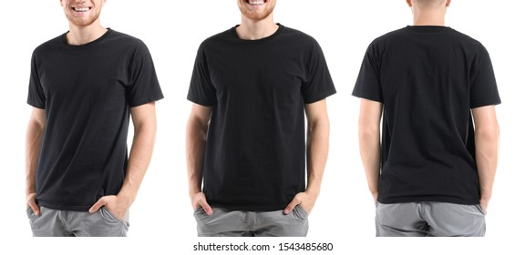 Collage with man in stylish t-shirt on white background