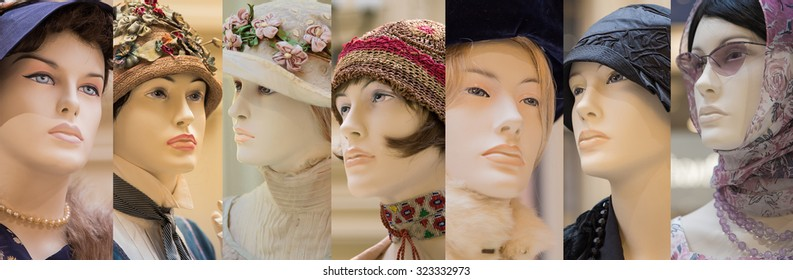 Collage of mannequins wearing  retro clothes