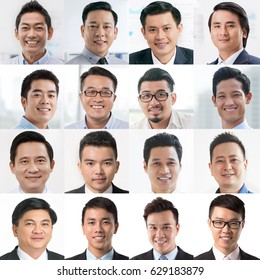 Collage of many faces of Asian business people