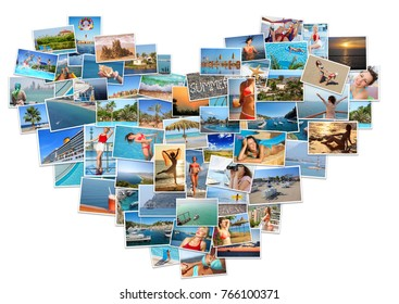 Collage with many happy beautiful resting people and resort views in heart shape (7 models)