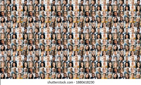 Collage of many multiracial business successful people of different age looking at camera. Business group of smiling successful faces on a screen of computer or laptop - Shutterstock ID 1880618230