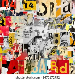 Collage of many numbers and letters ripped torn advertisement street posters grunge creased crumpled paper texture background placard backdrop surface