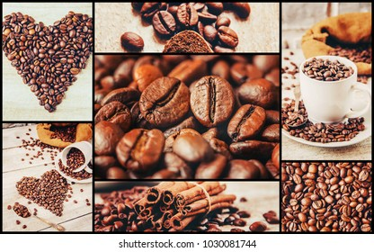 collage many pictures of coffee.