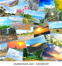 collage of many pictures of nature lying in a heap