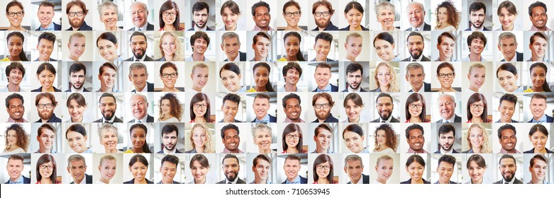 Collage of many portraits of business people as international team