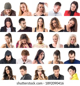Collage of many various people looking down below portraits isolated on white background.