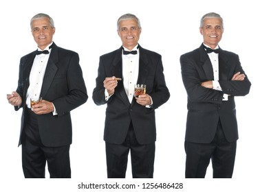 Collage of mature man wearing a tuxedo. Three views with various poses and expressions.