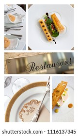 Collage of meals and luxury table sets