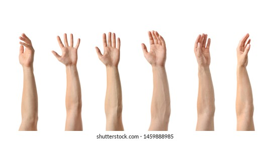 Collage of men showing hands on white background, closeup view