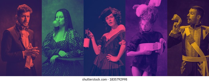 Collage of men and women like medieval characters on multicolored background. Trendy, modern duotone effect. Concept of human emotions, comparison of eras, history. Copyspace for ad. Halftones.