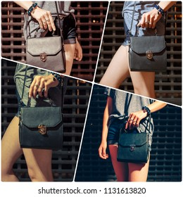 Collage of mid section of girl with black leather handbag